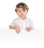 Young Child Holding White Message Sign royalty free stock images