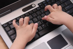 Young Child Learning Computer Stock Photo