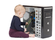Young child with open computer Stock Photos
