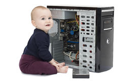 Young child with open computer Royalty Free Stock Images