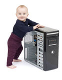 Young child with open computer Royalty Free Stock Photography