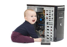 Young child with open computer Stock Photography