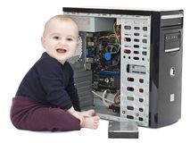 Young child with open computer Royalty Free Stock Image