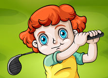 A young child playing golf. Illustration of a young child playing golf Royalty Free Stock Photo