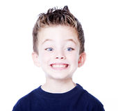 Young child portrait. Handsome young boy isolated on white background Royalty Free Stock Photo