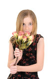 Young child with roses Stock Photo