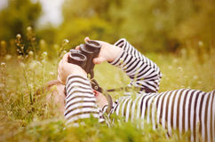 Young child using a pair of binoculars Royalty Free Stock Image