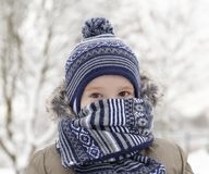 Child in winter, portrait royalty free stock image