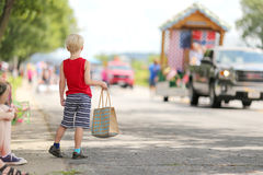Young Child Watching Small Town America Parade Royalty Free Stock Photography