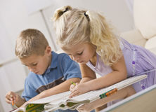 Young Children Coloring Royalty Free Stock Photography