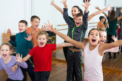 Young children  in dance studio having fun Royalty Free Stock Photography