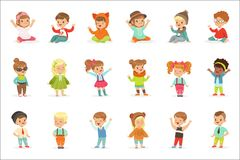 Young Children Dressed In Cute Kids Fashion Clothes, Series Of Illustrations With Kids And Style. Small Boys And Girls Stylishly Dressed Set Of Adorable royalty free illustration