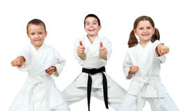 Young children express delight of karate lessons Royalty Free Stock Photography