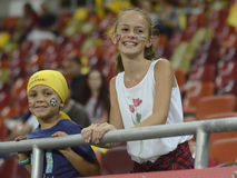 Young children football fans Royalty Free Stock Photo