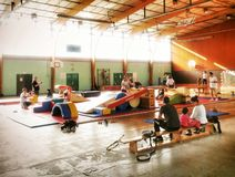 Young children gym games activity Royalty Free Stock Images