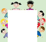 Young children holding blank paper Stock Photography