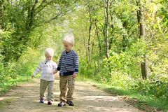 Young Children Holding Hands Taking a Walk in the Autumn Woods Stock Photo