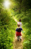 Young Children In Forest Stock Images