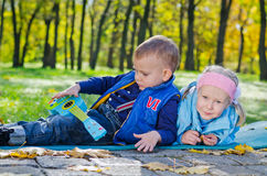 Young Children Laying on the Ground in a Park Stock Image