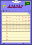 Young children learn to write numbers, Homework for kids. Art Stock Photography