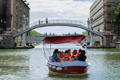 Young children on a leisure boat Royalty Free Stock Photo