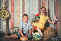 Young children playing with toys Royalty Free Stock Photo