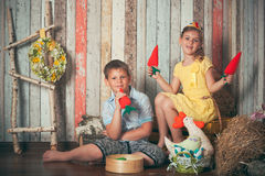 Young children playing with toys Stock Photo