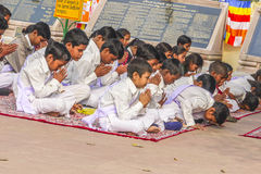 Young children pray in tibetan buddhist monastery Sarnath Stock Photos
