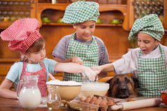 Young children preparing cookies in the kitchen, German Shepherd Royalty Free Stock Photo