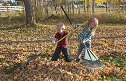 Young Children Raking Autumn Leaves