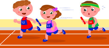 Young children runners relay competition vector Stock Photos