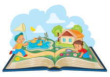 Young children studying nature as an open book Royalty Free Stock Image