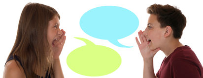 Young children talking with speech bubble and copyspace Royalty Free Stock Photo
