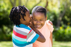Young children are talking together Stock Photo