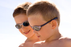 Young children under the sun Royalty Free Stock Photography
