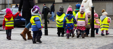 Young children walking on a school. Trip to Prague Royalty Free Stock Images