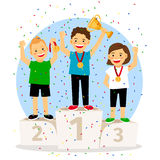 Young children winner podium. Children young winner podium. Sport athletics kids on pedestal with trophy cup. Vector illustration Stock Image