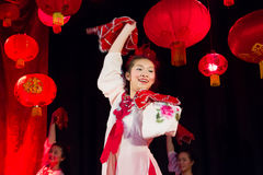 Young chinese dancers. Chinese Spring Festival. Dublin Royalty Free Stock Image