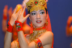 Young Chinese Dancers on stage stock photo