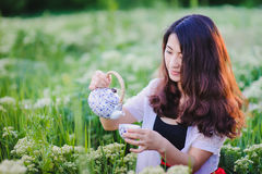 Young Chinese girl pouring tea in flowering meadow Royalty Free Stock Photography