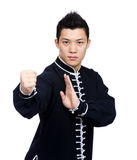 Young Chinese Kung Fu fighter. Isolated on white Royalty Free Stock Image