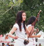 Young Chinese Lady Playing An Erhu Stock Photos