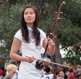 Young Chinese Lady Playing An Erhu Stock Images