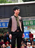 Pengzhou, China: Male Model on Runway Stock Photography
