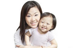 Young chinese mother with baby girl