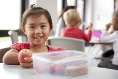 Young Chinese schoolgirl sitting at a table during her lunch break at kindergarten, holding an apple and smiling, close up royalty free stock photos