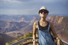 Young Chinese woman in Grand Canyon, Colorado, USA Stock Photos