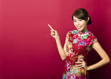 Young chinese woman with showing gesture Stock Photos