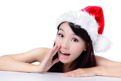 Young Christmas Girl talking to you Stock Photos