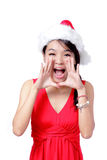 Young Christmas Girl talking to you Stock Photo